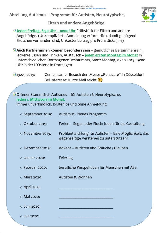 Abteilung Autismus Program 2019_2020